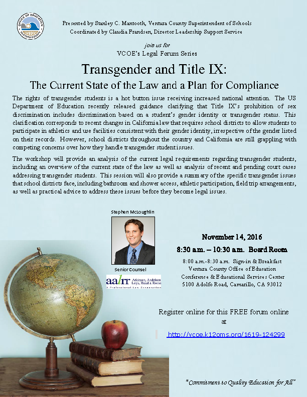 Transgender and Title IX: The Current State of the Law and a Plan for  Compliance